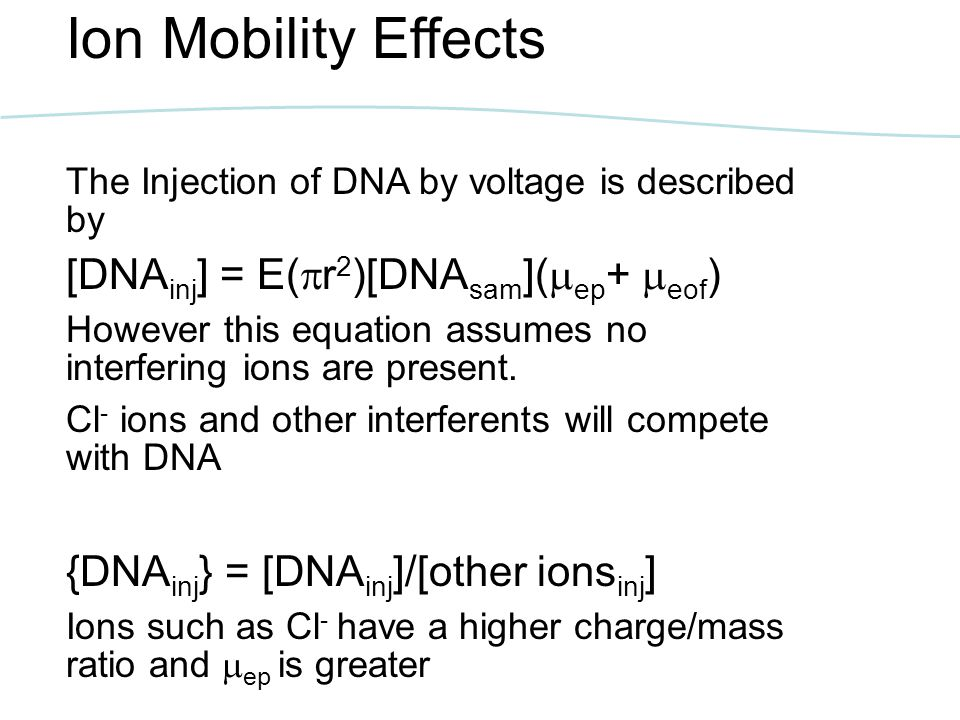 Ion Mobility Effects [DNAinj] = E(r2)[DNAsam](ep+ eof)